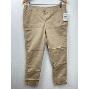 Caslon Chino Ankle Pants Tan Cuffed Flat Front New